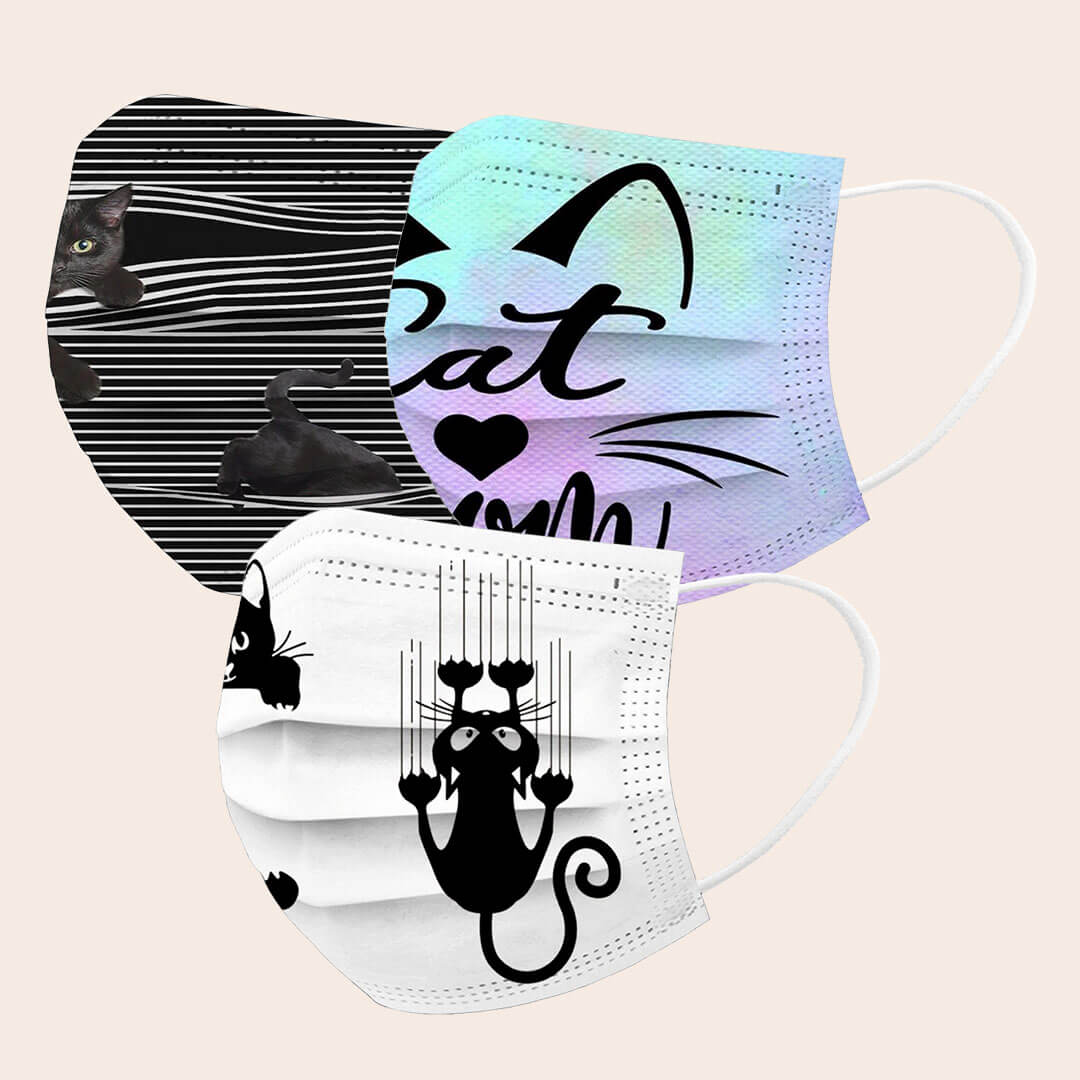 Máscara Higiénica Descartável Amigos Felinos - Pack de 3 uni